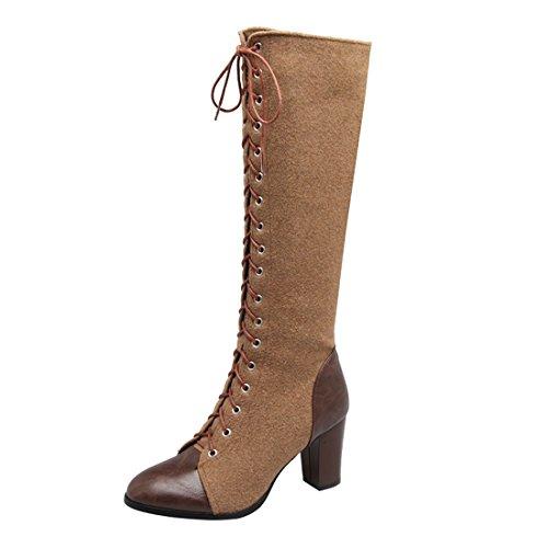 YE Damen Kniehoch Stiefel Blockabsatz High Heels mit Schnürung und Reißverschluss 8cm Absatz Elegant Schuhe BNNJbS9Nsk