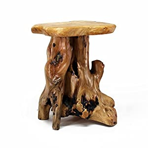 "WELLAND Tree Stump Side Table, Live Edge Stool, 20"" Tall"