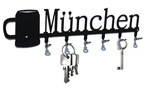 steelprint.de Keyholder Keyhook - München - Octoberfest - Beer Mug Munich - Beautiful Key Hook for Wall - Key Rack - 6 Hooks - Metal - Black