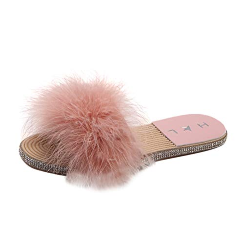 (Women Girls Summer Artificial Feather Slippers Flat-Bottomed Fashion Slip-On Shoes Pink)