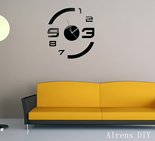 Alrens_DIY(TM)Black Rounds With Butterflies Art Mordern Luxury Design Acrylic Non-ticking Quartz Clock Watch DIY Removable 3D Crystal Mirror Wall Clock Wall Sticker Home Decor Art Living Room Bedroom Decoration by Alrens (Image #4)