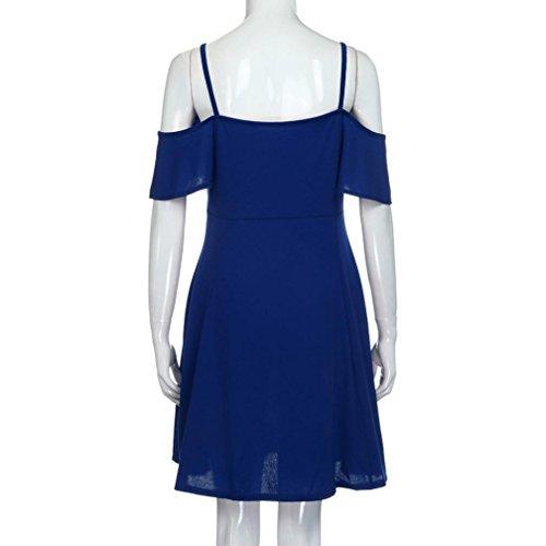 VENMO Mujeres Off Hombro Backless Spaghetti Correa Mini Vestido Corto Azul