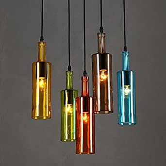 GENERIC E Colorful Bottle LED Pendant Lights Fixtures For Home Lighting Coffee Dining Room Hanging