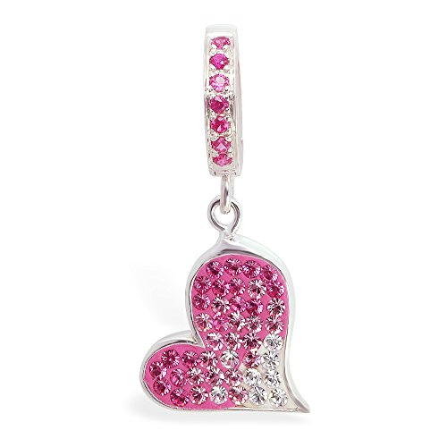 Tummy Toys Hot Swarovski Crystal Heart With Hot Pink Pave Clasp Sexy in a snap navel jewelry ()