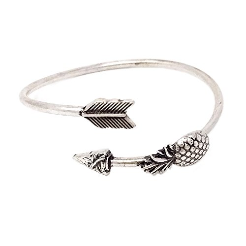 Emulily Pineapple with Arrow Head Flexible Wire Cuff Bangle (Silver Burnish)