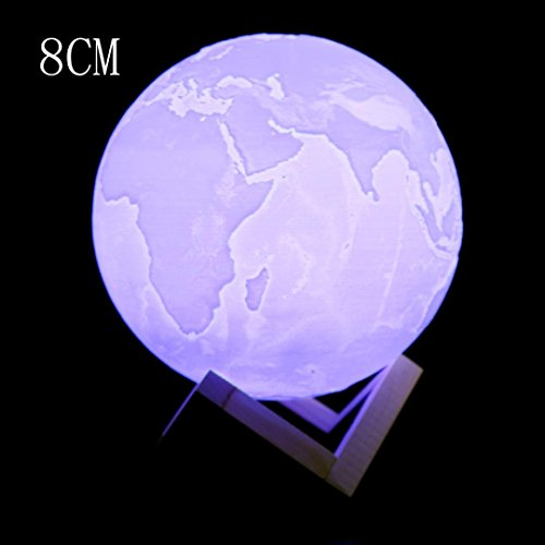 Night Light 3D Earth Lamp,PrettyW Table Desk Bed Luminous Night Light Lamp with USB Charging Home Decor Gift (8cm)