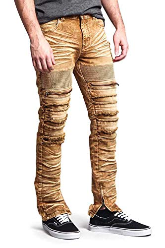 Spandex Zip Fly Jeans - Victorious Distressed Acid Wash Zipper Accent Ankle Zip Layered Biker Slim Jeans DL1115 - Dark Wheat - 30/30 - A6F