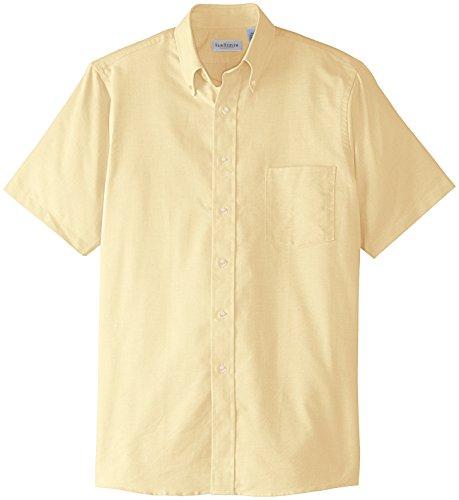 Van Heusen Men's Regular-Fit Oxford Short-Sleeve Button Down-Collar Dress Shirt, Yellow, Small