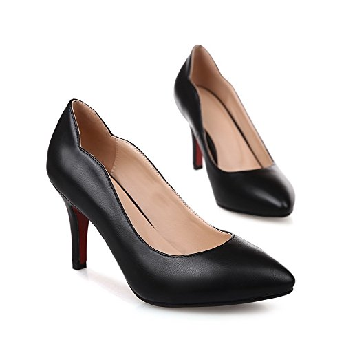nbsp;Tacón Mujer on AllhqFashion en Puntera Zapatos PU Alto Tacón nbsp;de Punta Negro Slip P4xRRdwqB