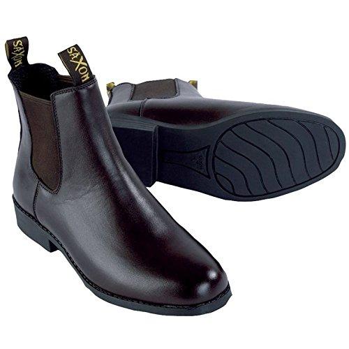 Saxon Equileather botas de Jodhpur (tamaños C9–Reino Unido 4) negro (negro)