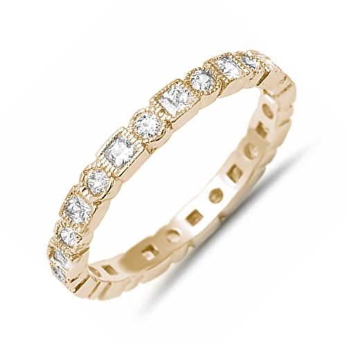 Antique Style Bezel Set Eternity Ring Round Square Pattern CZ 925 Sterling Silver Size 10 (Antique Style Wedding Set Ring)