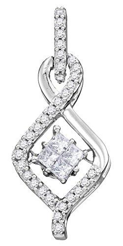 Roy Rose Jewelry 10K White Gold Womens Princess Diamond Moving Twinkle Cluster Teardrop Pendant 1/5-Carat tw