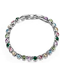 "Fairy Lights White Gold Plated Tennis Bracelet Made With Clear/Multicolor Swarovski Crystals 6.3"" + 1"" Extender, Free Gift Box Packaged!"