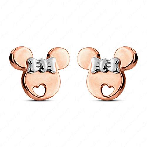 Earrings Heart Mouse Mickey - Gemstone Jewellery 925 Sterling Silver Mickey Minnie Mouse Heart Stud Earrings Push Back 14K Gold Plated