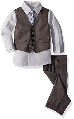 Kenneth Cole Baby Boys 4-Piece Formal Vest Set, Black Birdseye, 12M