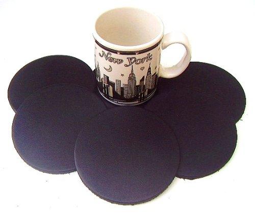 (Coasters Leather Round 6 Pcs Black)