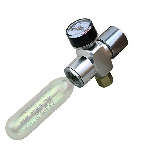 Micro Nitrogen & CO2 Mini Regulator Keg Charger for Threaded Cartridges (0-60psi)