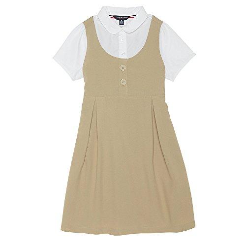 French Toast Girls' Big Peter Pan 2-fer Dress, Khaki, - Uniform Dress Jumper