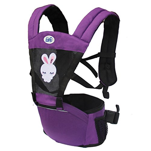 Four Seasons Breathable Baby Belt Waist Stool, Portable Removable Seat, Adjustable Stereo Backpack, Baby Carriage, 221368cm, Load-Bearing 20kg (Color : Purple) by Zhengfangfang