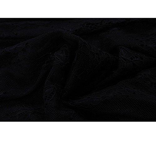 WintCO Damen Knielang Kleid Cocktailkleid Spitzenkleid 3/4 Ärmel V-Ausschnitt Kleider Schwarz KDgz7je5Gb