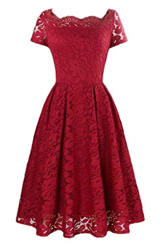 heymoney Women's Elegant Floral Lace Square Neck Cocktail Party Formal Midi Dress Wine Red S