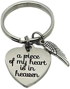 Memorial Keychain A Piece of My Heart Is In Heaven Angel Wing with Birthstone