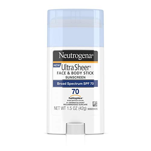 (Neutrogena Ultra Sheer Non-Greasy Sunscreen Stick for Face & Body, Broad Spectrum SPF 70, 1.5 oz)
