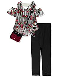 RMLA Girls' 2-Piece Leggings Set Outfit with Flip Sequin Purse