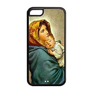 Diy iPhone 6 plus Custom DIY Virgin Mary Christian and Child Baby Jesus Durable TPU Back Case for iPhone 6 plus (Black 020331)