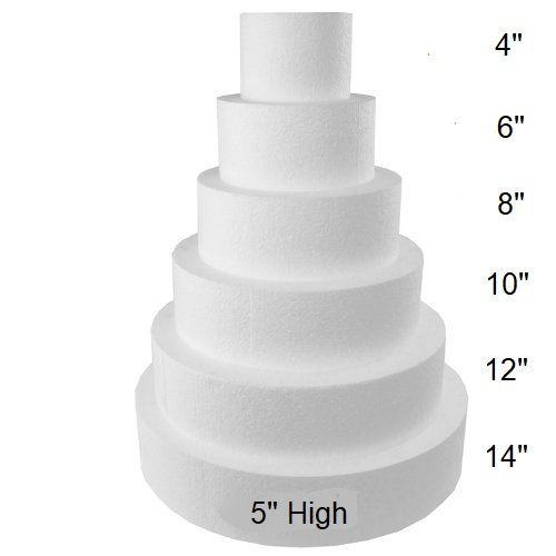 """Oasis Supply FK 5"""" high by 6"""" 8"""" 10"""" 12"""" Fake Dummy Cake Set expanded polystyrene Foam, 4 count"""