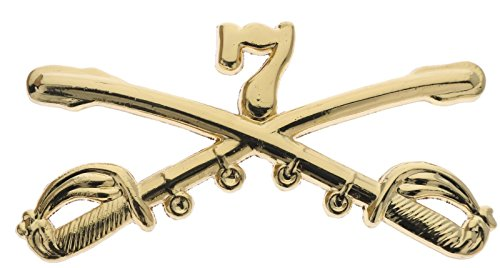 US Army 7th Cavalry Crossed Sabres Gold Tone 2 1/4 inch Hat Pin JCH16041D148
