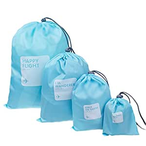 BINGONE Nylon 4-in-1 Drawstring Bags / Ditty Bag / Cord Bag Home Storage Travel Use 4 Different Size,Light Blue1