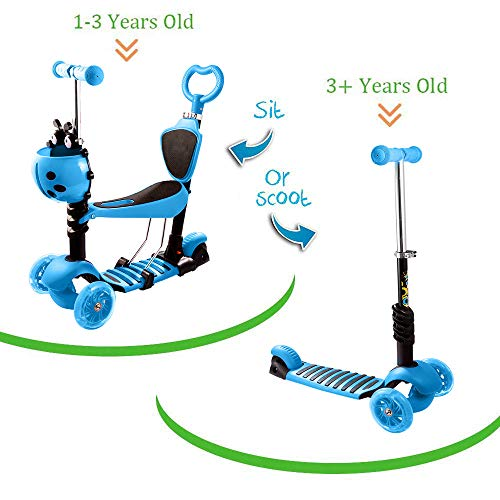 Handlebar Wide Boy - Aceshin 3-in-1 Kick Scooter for Kids Toddler Scooter Boys Girls with Removable Seat, LED Light Up Wheels and Adjustable Handlebar (US Stock) (New 3-in-1 Blue)