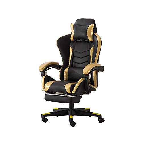 Video Game Chair, Elevating Rotary Reclining Gaming Chair with Footrest Ergonomics Computer Chair with Headrest and…