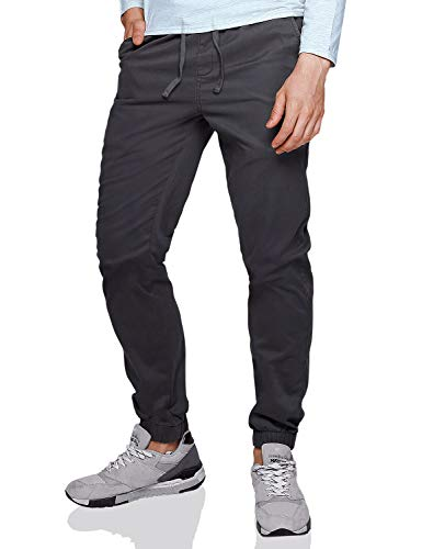 Match Men's Loose Fit Chino Washed Jogger Pant (32, 6566 Dark gray)