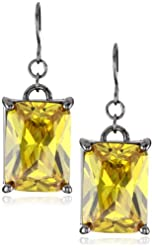 "nOir Jewelry ""Classic Cubic Zirconia"" Yellow Rectangle Stone Statement Earrings"