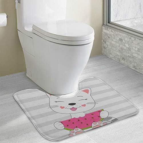 Bath Mat Patterned Cute Cat Eats Watermelon Isolated White U-Shaped Non Slip Absorbent Thick Soft Washable Men Bathroom Rugs