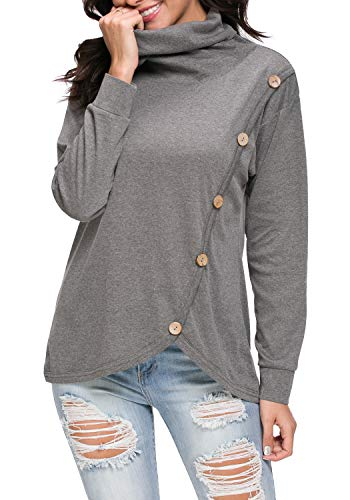 (levaca Women's Loose Casual Cowl Neck Sweater Tee Shirt Tunic Tops Dark Gray M)