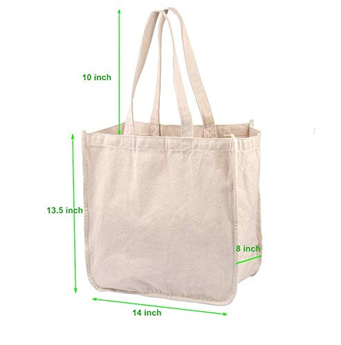 Canvas Grocery Shopping Bags – Reusable Grocery Shopping Tote Bags – Heavy Duty Shopping Grocery Bags with Handles and Pockets – Organic Cotton Washable Grocery Bags (3 packs)