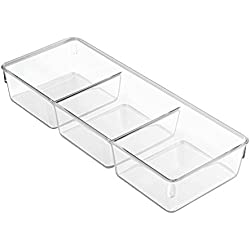 InterDesign Linus Dresser and Vanity Drawer Organizer, 13-inch by 5-inch by 2.25-inch, Clear