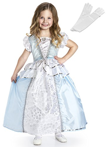 [Princess Dress Up Cinderella Costume for Girls + White Satin Gloves Set - Large] (Cinderella Dress Up)