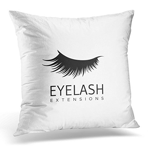 SPXUBZ Black Eye Eyelash Extension in Modern Style White Abstract Beautiful Decorative Home Decor Square Indoor/Outdoor Pillowcase Size: 18x18 Inch(Two Sides)