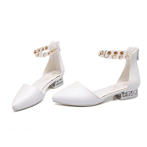AllhqFashion Womens Soft Material Zipper Pointed Closed Toe Low Heels Solid Sandals White Xzhnk