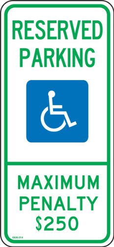 (Accuform FRA206RA Engineer-Grade Reflective Aluminum Handicapped Parking Sign (North Carolina), Legend