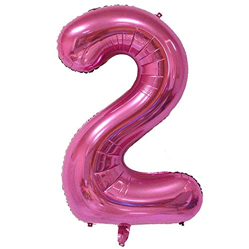 LANGXUN 40inch Pink Number 2 Foil Number Balloons for 2nd Birthday Party Supplies and Birthday Decorations and Birthday Photo Booth Props