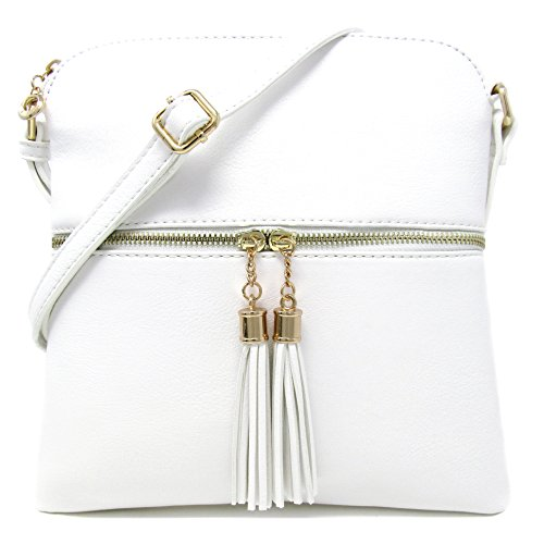 Solene Women's Rich Faux Leather Light Weight Medium Crossbody Bag and Large Capacity Purse Organize Your Small Wallet, Cards, Phone And Daily Items with Adjustable Shoulder Strap (WHITE)