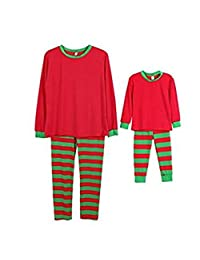 Q&Y Holiday Stripe Matching Family Christmas Pajamas Set Homewear Outfits