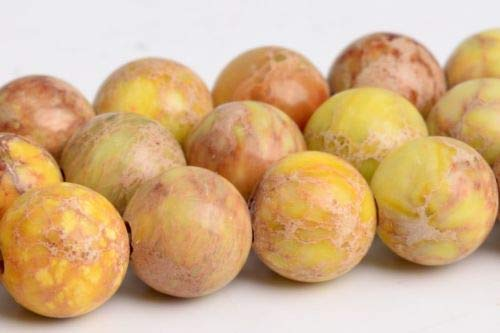 8mm Natural Mustard Yellow Sea Sediment Imperial Jasper Round Beads 15
