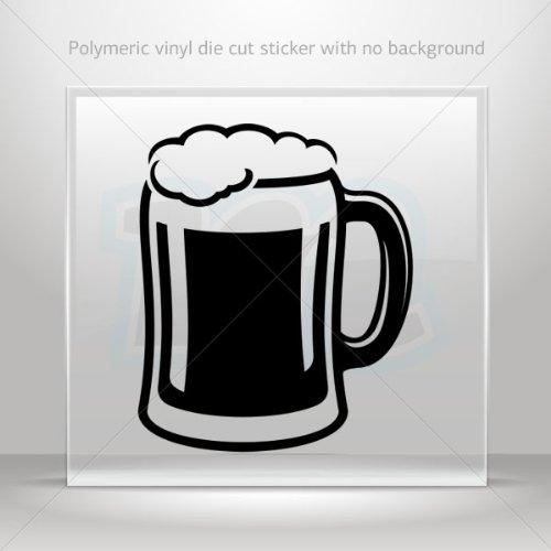 Decal Stickers Glass Of Beer car helmet window Boat jet-ski Garage door 6 X 5 Inches Black 0602 W8ZE6