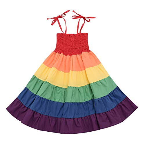 - Little Story Toddler Kids Baby Girls Rainbow Striped Patchwork Princess Party Dress Sundress